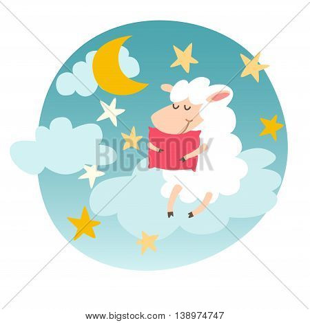Sleeping sheep with pillow on night sky sticker. Sweet dreams. Vector illustration on white background