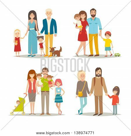 Happy family vector set. Cartoon character people: mother, father, brothers, sisters and twins. Illustration isolated on white background