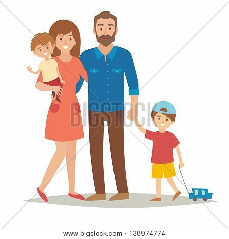 Happy family with kids. Cartoon caracters: mother, father, brothers. Flat style vector illustration isolated on white background