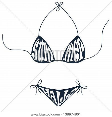 Summer hallo inscription over swimsuit.  Blue swimsuit vector