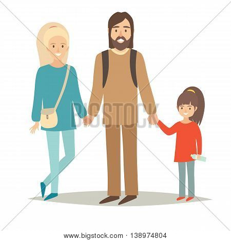 Happy family with young daughter. Vector character hippie on travel: mother, father and children. Cartoon vector illustration isolated on white