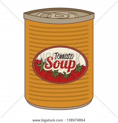 Delicious tomato soap canned isolated flat icon, vector illustration.