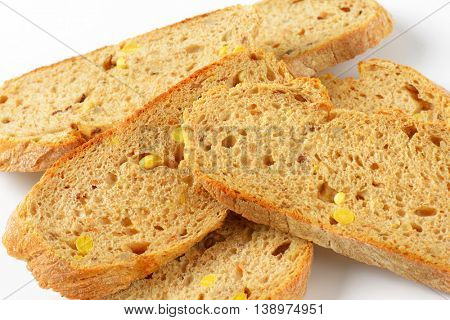 detail of sliced whole grain bread