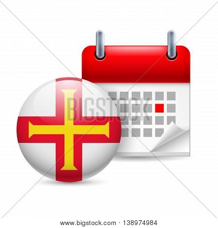 Calendar and round French flag icon. National holiday in Guernsey