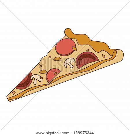Delicious pizza fast food isolated flat icon, vector illustration.