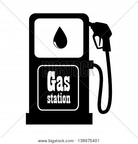 Gas station dispenser black and white colors isolated flat icon