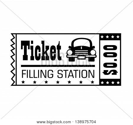 Filling station ticket black and white colors isolated flat icon