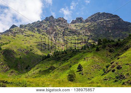 Mountaint Top And Meadwos - (ponte Di Legno, Case Di Viso - Italy)