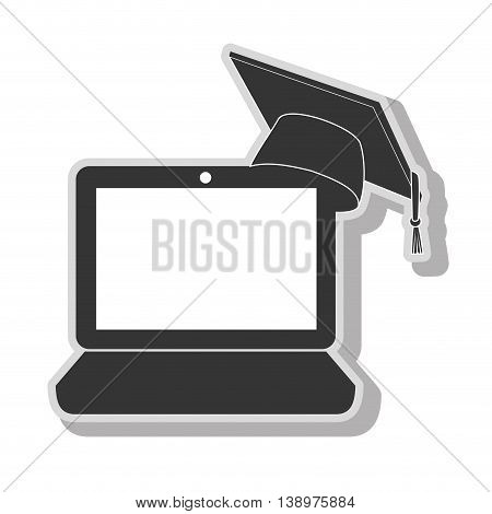 elearning pc graduation in black and white colors, isolated flat icon.