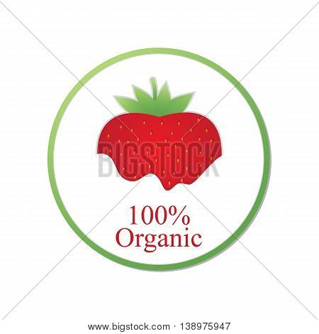 red strawberry organic poster on a white background