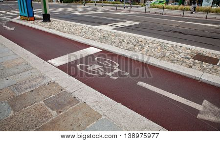View of bycicle path in Milan Italy
