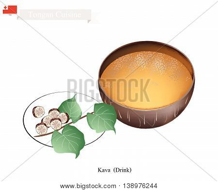 Tongan Cuisine Illustration of Kava Drink or Traditional Beverage Made From The Roots of Kava Plant Mixed with Water. One of The Most Popular Drink in Tonga.