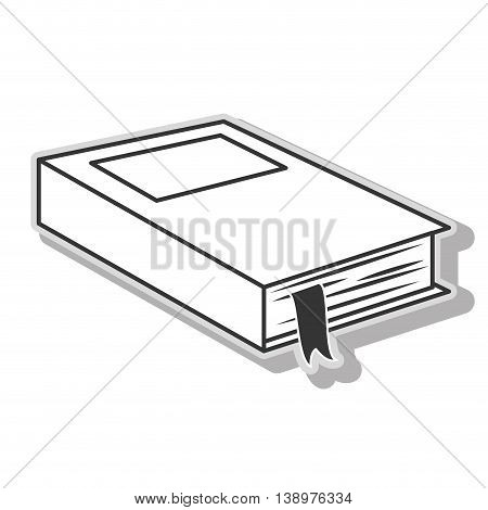 Book education school in black and white colors, isolated flat icon.