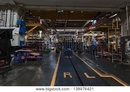 Interior of workshop in a plant that manufactures agricultural equipment
