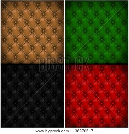 Set of button-tufted leather backgrounds. Color leather upholstery. Vector illustration.