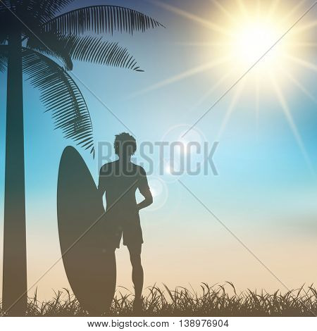 Silhouette of a surfer on a tropical background