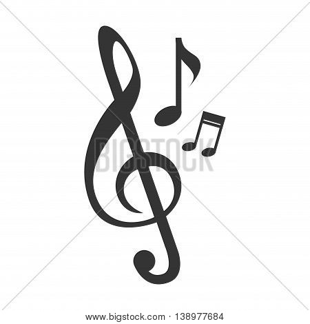 Music note melody in black and white colors, isolated flat icon.