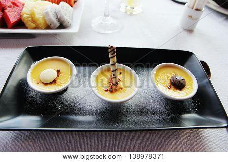 Sweet creme brulee in bowl, cream caramel