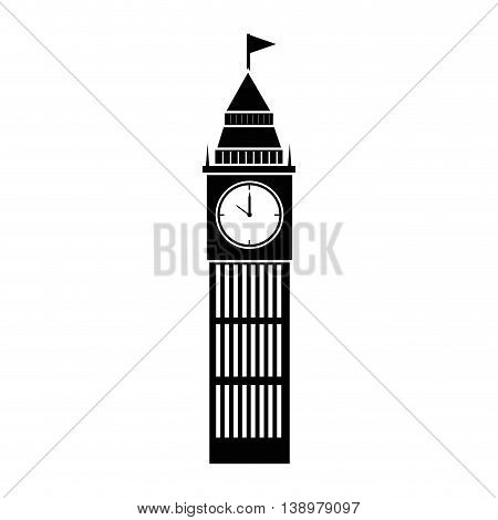 Tower clock building real estate , isolated flat icon with black and white colors.