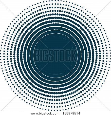 Isolated abstract dark blue color dotted background. Unusual round shape decorative textile backdrop. Ventilation and conditioning system illustration. Wallpaper pattern.