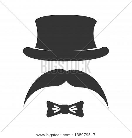 Vintage hat mustache tie , isolated flat icon with black and white colors.