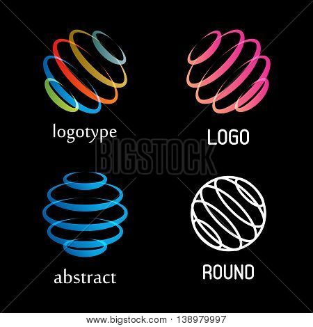 Isolated abstract colorful round shape vector logo set. Rings elements logotypes collection. Spinning spirals icons group. Hurricane, tornado vector illustrations. Kids whirligig logotypes