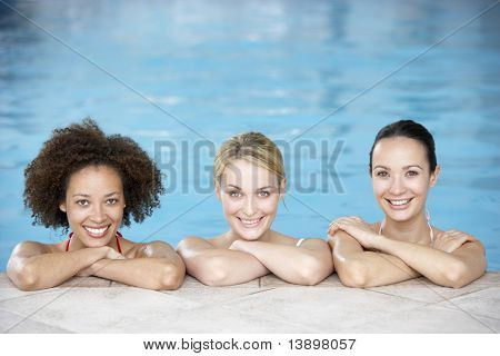 Three Female Friends In Swimming Pool
