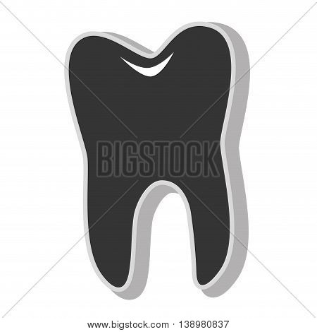 Dental tooth care , isolated flat icon with black and white colors.