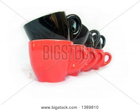 Row Of Black And Red Coffee Cups