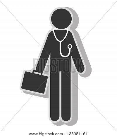 Doctor stethoscope equipment pictogram , isolated flat icon with black and white colors.