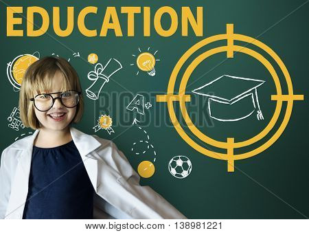 Education Word Hat Computer Learning Graphic Concept