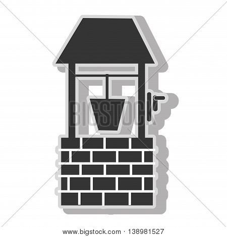 Waterhole bucket water , isolated flat icon with black and white colors.