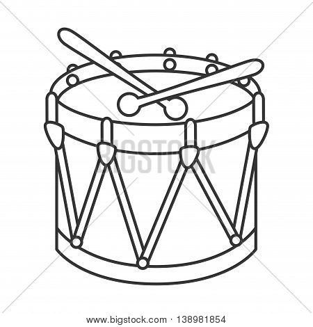Drum kit toy , black and white isolated flat icon
