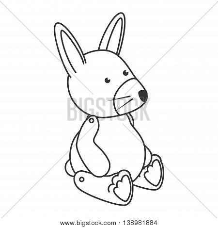 teddy bunny toy , black and white isolated flat icon