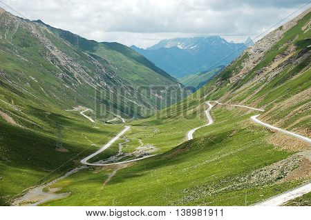 winding road in the mountain valley for design