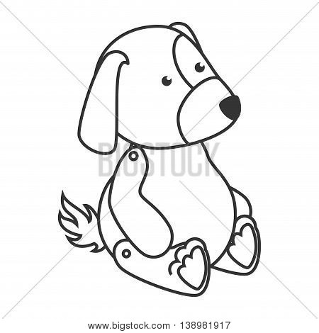teddy dog toy , black and white isolated flat icon