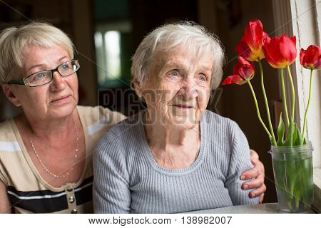 Portrait of an elderly woman with adult daughter.