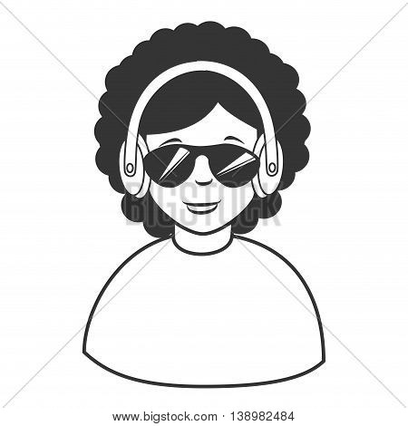 Afro hair headphones sunglasses , isolated flat icon cartoon