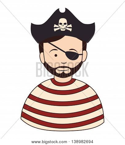 Pirate male hat, isolated flat icon design