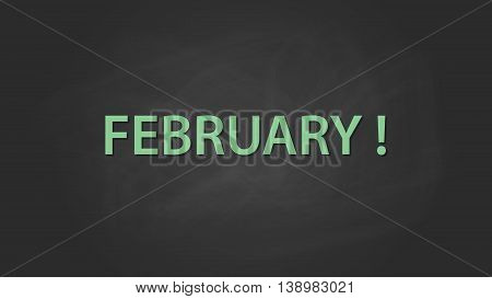 february month text written on the blackboard with chalk board effect vector graphic illustration