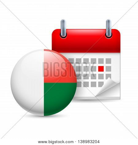 Calendar and round Malagasy flag icon. National holiday in Madagascar