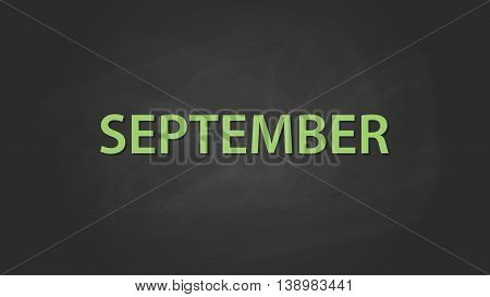 september month text written on the blackboard with chalk board effect vector graphic illustration