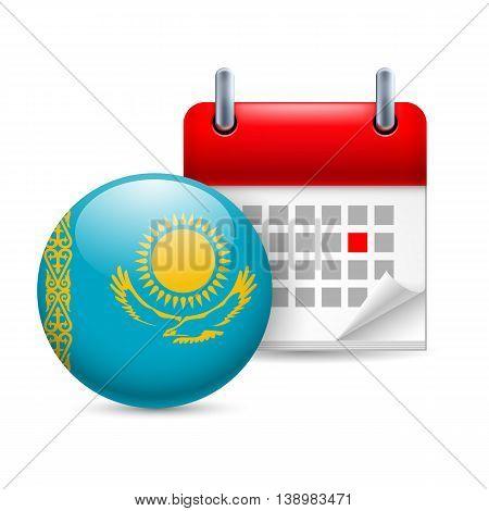 Calendar and round Kazakh flag icon. National holiday in Kazakhstan