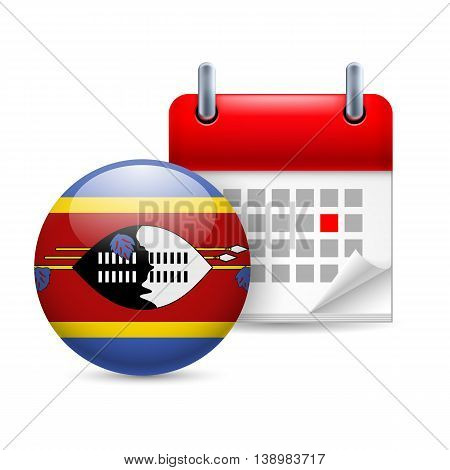 Calendar and round flag icon. National holiday in Swaziland