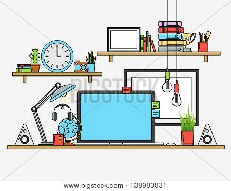 Illustration of modern workplace. Creative office workspace. Flat minimalistic style. Flat design