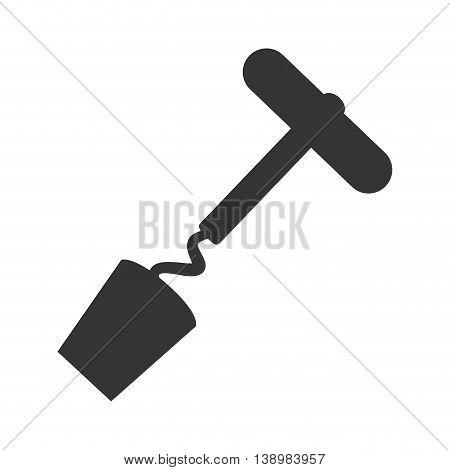 corkscrew bar utensil, isolated flat icon design