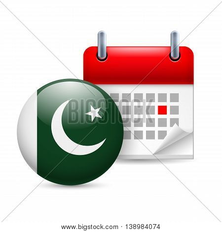 Calendar and round Pakistani flag icon. National holiday in Pakistan