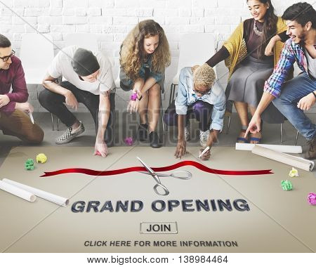 Grand Opening Ceremony Business Join Concept
