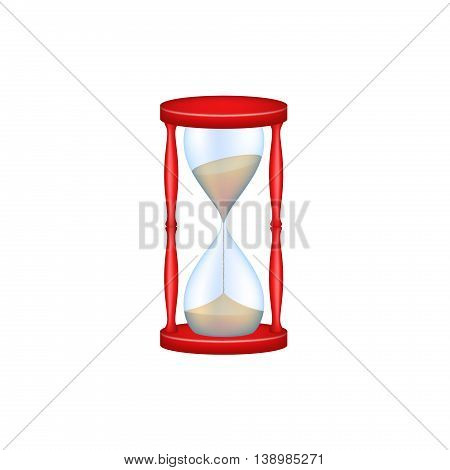 Sand glass in red design and blue glass on white background