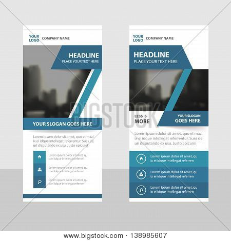Blue label Business Roll Up Banner flat design template Abstract Geometric banner template Vector illustration set abstract presentation brochure flyer template vertical template vector